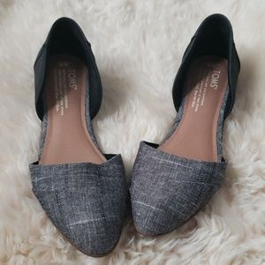 Tom's flats | charcoal grey & black pointed flats